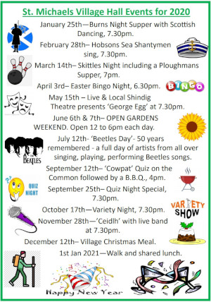 Village Hall Events for 2020